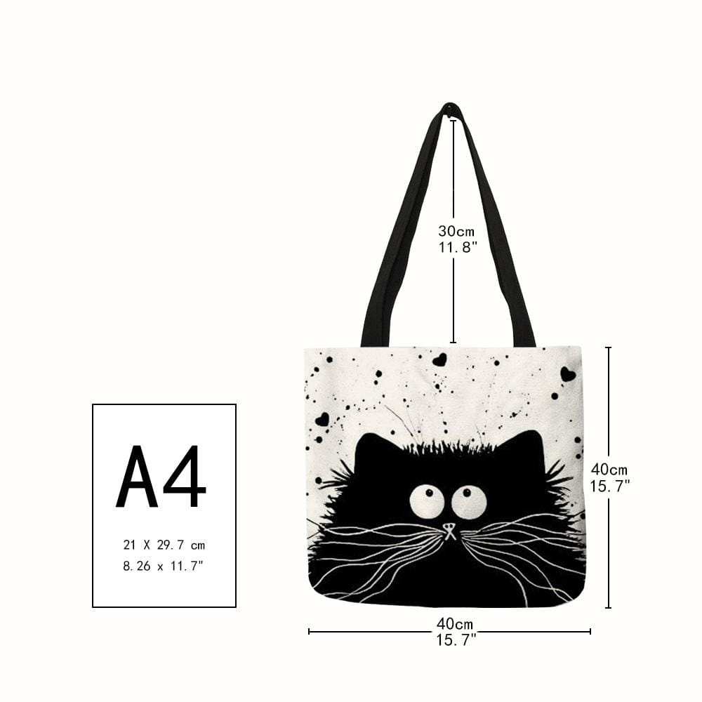 Cute Cat Tote Linen Bags with awesome cat prints - HomeWareBargains