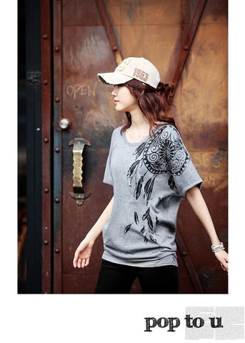 Plus size T Shirts for Women - Cotton O-neck Printed Top - HomeWareBargains