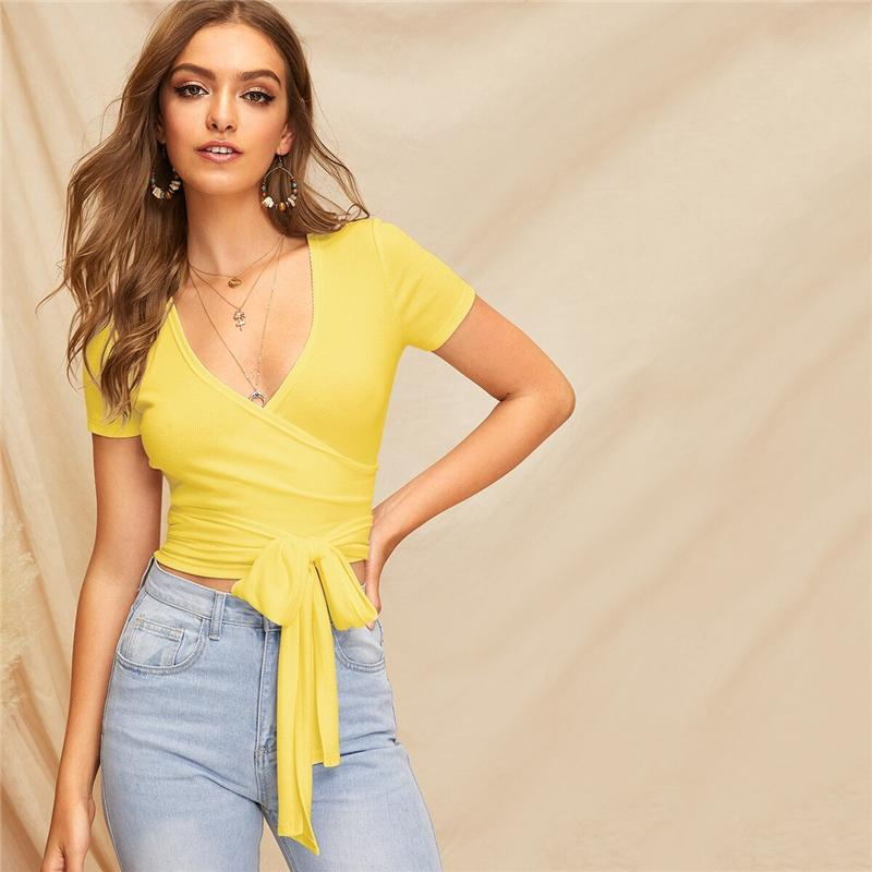 Deep V Neck Crop Wrap Belted Slim Fitted Top T Shirt for Women - HomeWareBargains