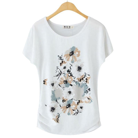 Women's Short-sleeve White Cotton T-shirt - HomeWareBargains