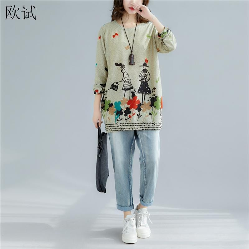 Plus Size Long Sleeve T Shirt for Women with Cartoon Kawaii Print - HomeWareBargains