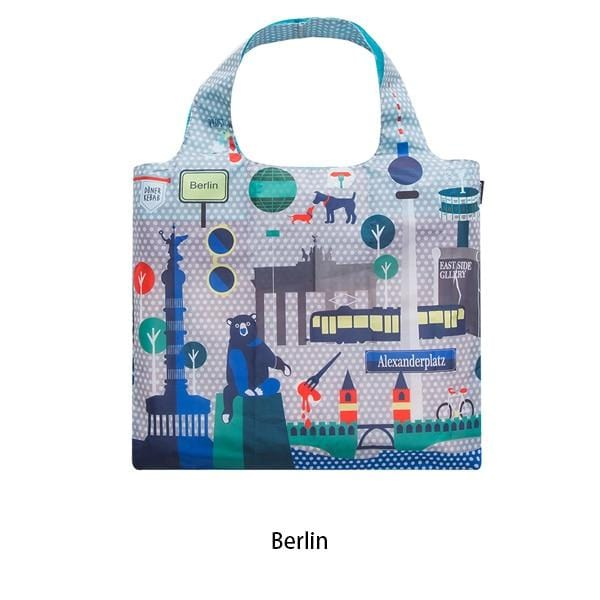 Eco Friendly Folding Shopping Bag Green Reusable with Pouch Tote - HomeWareBargains