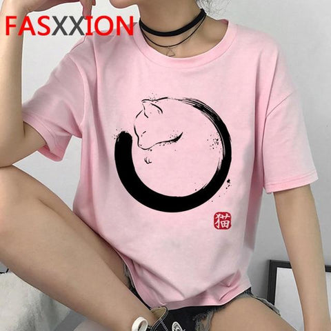 Kawaii Cat Graphic Harajuku T Shirt for Women - HomeWareBargains