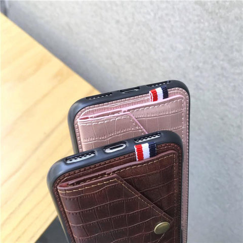 Luxury Magnetic Card Holder Case for iPhone with kickstand - Leather Wallet Back Case or Cover - HomeWareBargains