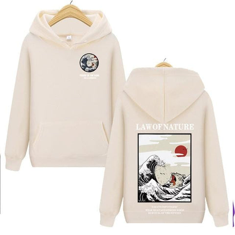 Harajuku Japanese Embroidery Cat Wave Printed Hoody - HomeWareBargains