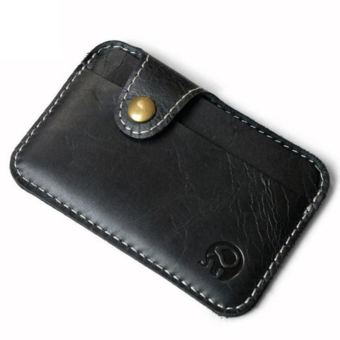 Retro Leather Card Wallet for Men and Women - Ultra Convenient Slim and Light with Clasp
