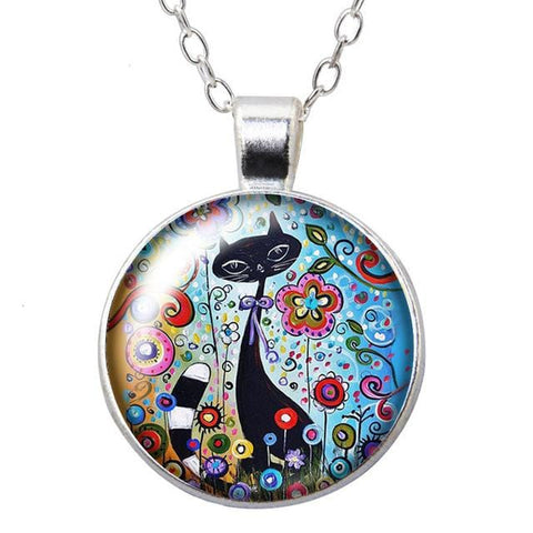 Cats and Flowers - Love pets Round Pendant Necklace 25mm Glass - HomeWareBargains