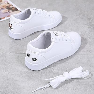 Cute Women Casual Shoes Cat Lace Up White Vulcanize Shoes Woman - HomeWareBargains
