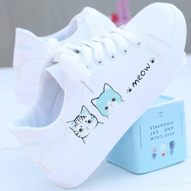 Leather Cat-Themed White Shoes - Korean version - Flat Bottomed - HomeWareBargains