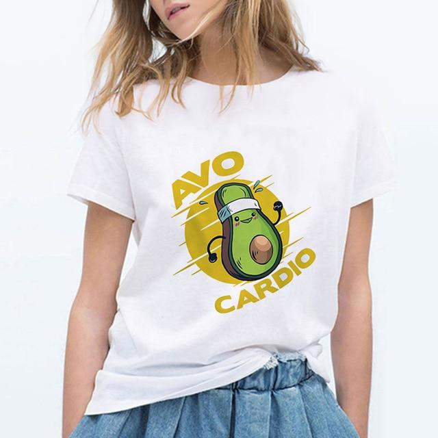 Avocado Cat Pattern T Shirt for Women - Harajuku - HomeWareBargains