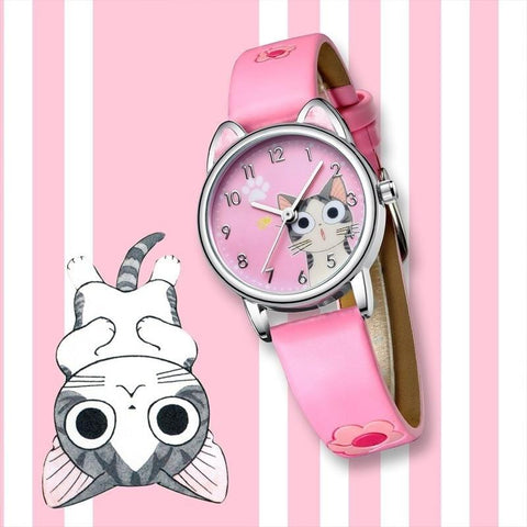 Cat Watch - Pink  with Quartz Movement - HomeWareBargains