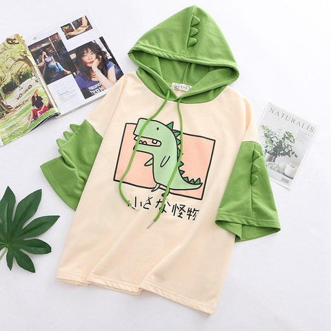 Women Dinosaur Sweatshirts With Horns - Sweet Style Short Sleeve Cotton Hoodies for Girls - HomeWareBargains