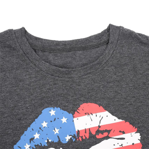 T Shirt Women Gray Tops with Lips and FLag - HomeWareBargains
