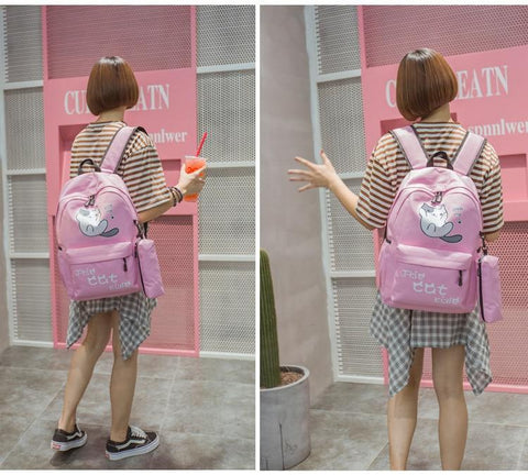 Campus Style Cute Cat Backpack - School Bags - HomeWareBargains