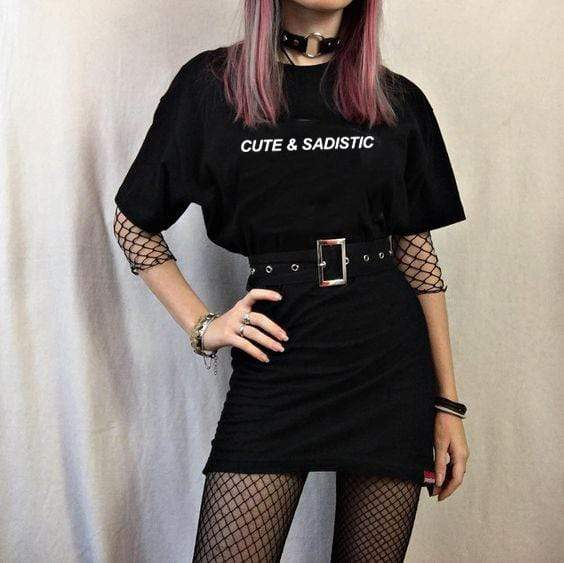 Cute & Sadistic Harajuku Gothic Female Tshirt for Women - HomeWareBargains