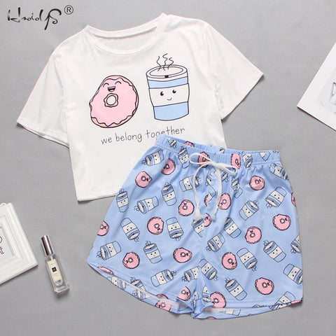 Women's Sleepwear Cute Cartoon Print with Shorts Set - HomeWareBargains