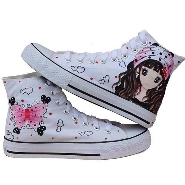 Canvas High Leisure Hand Painted Flat Shoes Sneakers - HomeWareBargains
