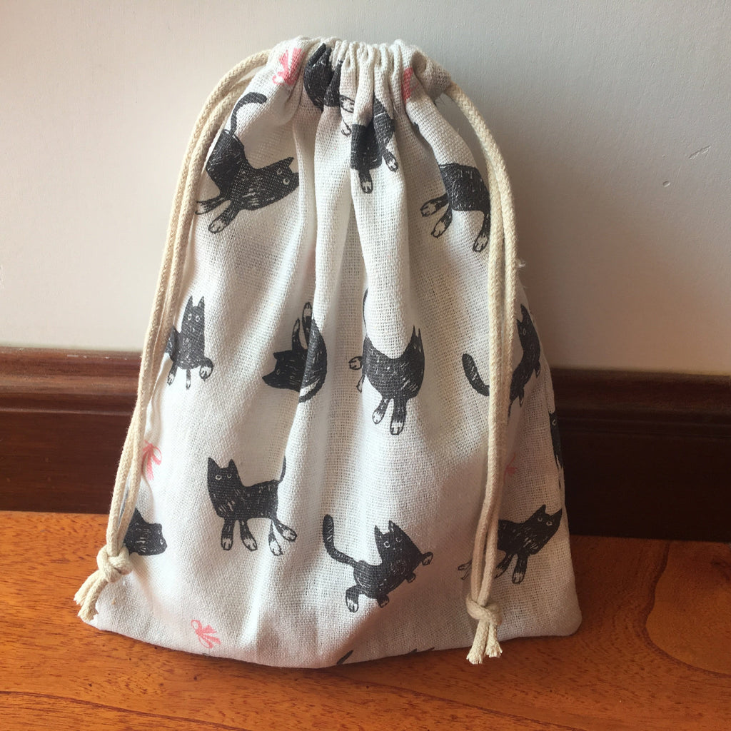 Linen Drawstring Multi-purpose Pouch Bag  with a Black Cat and Pink Bow - HomeWareBargains