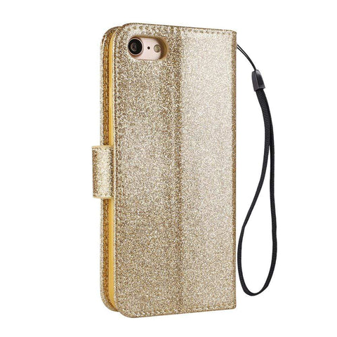 Glitter Bling Case For iPhone with Flip Leather Book-style Wallet Cover - HomeWareBargains
