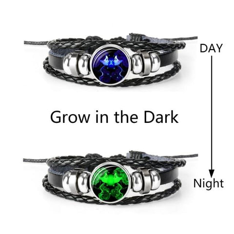 Zodiac Sign - Black and Braided PU Leather Bracelet with Glow in the Dark Optional Capability