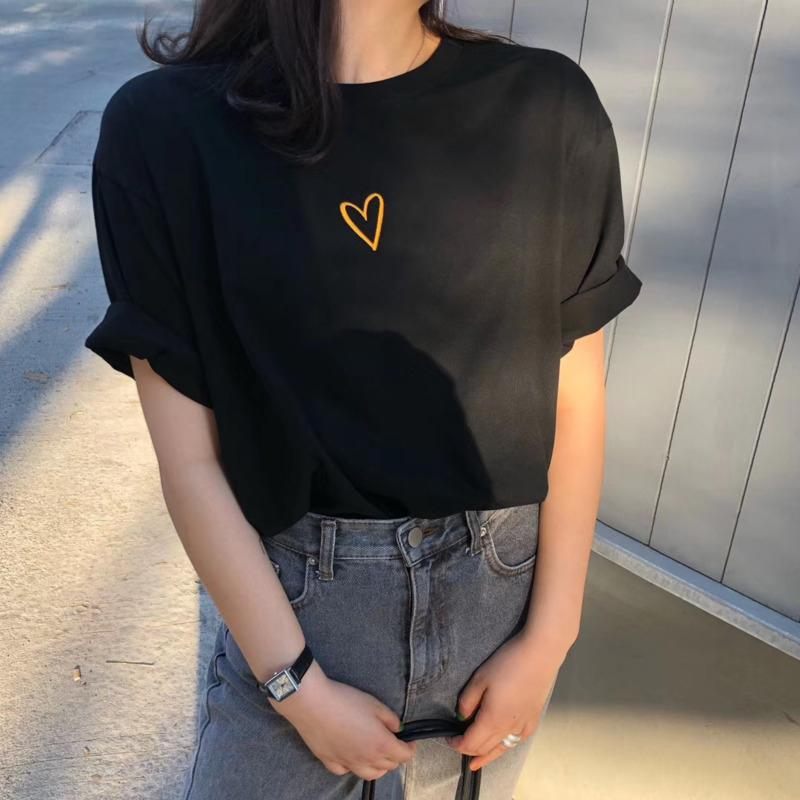 Chic Heart Embroidered Cotton T Shirts for Women - HomeWareBargains
