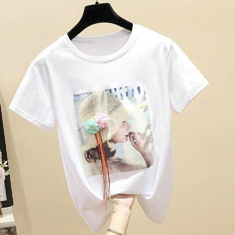 White T shirt Women Tops Summer Vintage Korean Clothes for Woman - HomeWareBargains