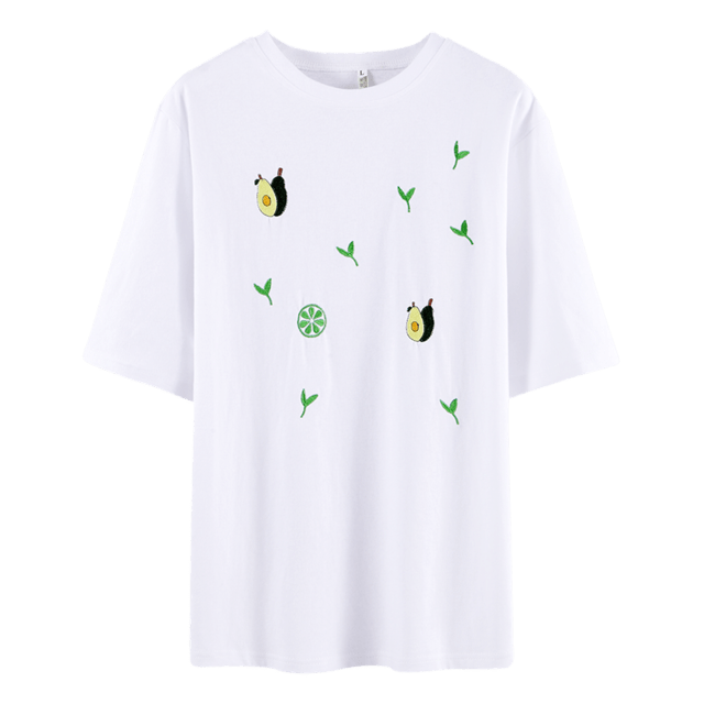 T shirt for Women Summer Clothing Short Sleeve Embroidered - HomeWareBargains
