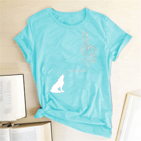 Music T Shirt for Women with Wolf and Music Note - HomeWareBargains
