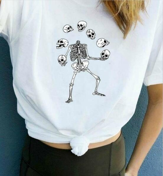 Skull with Funny Quote Printed T Shirt for Women - HomeWareBargains