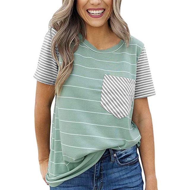 Striped T Shirt for Women with O-neck and Short Sleeves - HomeWareBargains