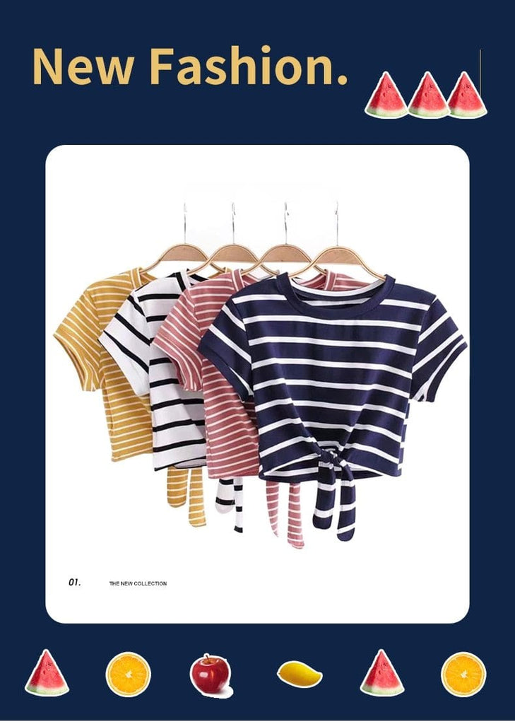 Tied Cropped T Shirts - Striped for Women - HomeWareBargains