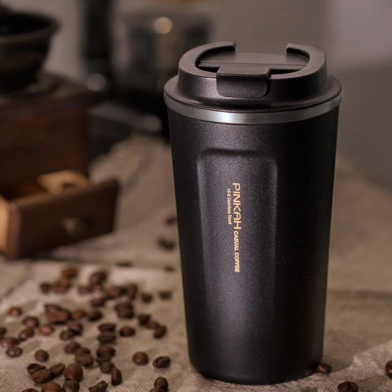 304 Stainless Steel Thermo Cup Travel Coffee Mug with Lid for the Car - 380ml & 500ml - HomeWareBargains
