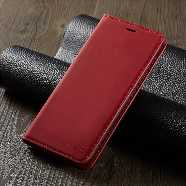 Leather Magnetic Flip Case or Cover for IPhone with Wallet Card Holder - HomeWareBargains