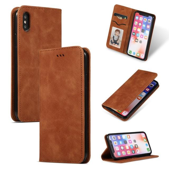 Luxury Flip Case or Cover for Iphone - Leather and Silicone Magnetic Card Holder Wallet with KickStand Cover - HomeWareBargains