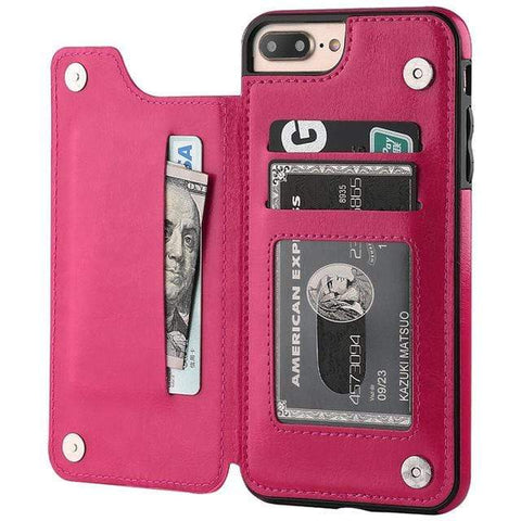 Luxury Slim Fit Premium Leather Cover For iPhone - with Wallet Case and Card Slots - Shockproof Flip Shell - HomeWareBargains