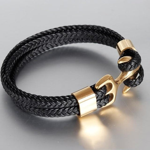 High Quality Men's Titanium Steel Bracelet - Black Leather - Woven with Awesome Anchor