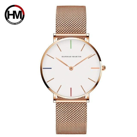 Quartz Movement Hannah Martin Exclusive Women's Stainless Steel Mesh Rose Gold Waterproof Ladies Watch