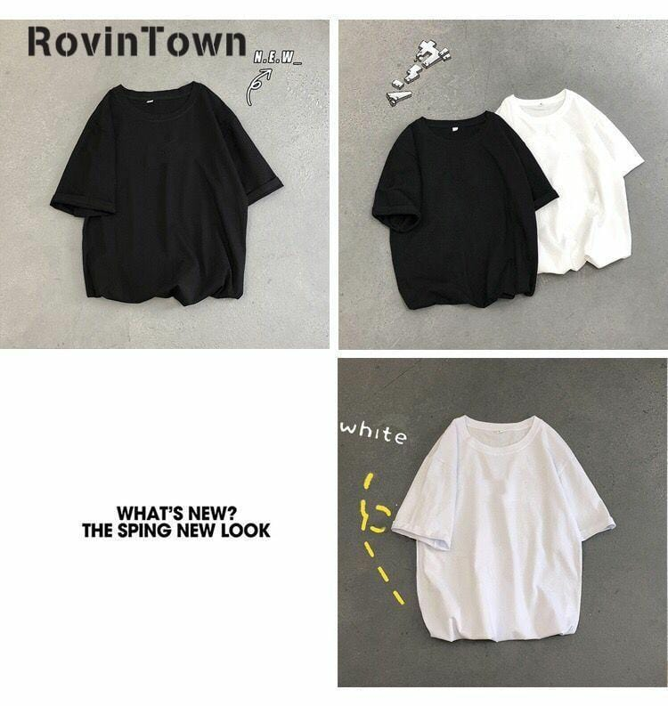 Summer T-shirt for Women - New Oversize Black White Solid Half Sleeve Casual - HomeWareBargains