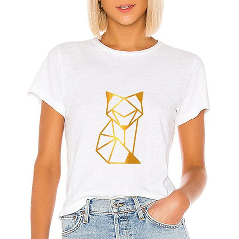 Geometric Animal Fox T-shirts Versatile for Women - HomeWareBargains