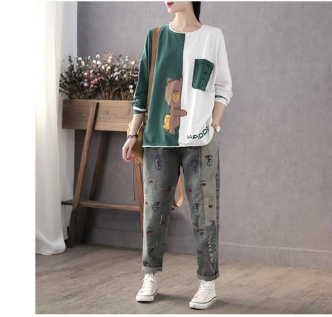 Ladies Cartoon Patchwork Tee Shirts for Women with Embroidery - HomeWareBargains