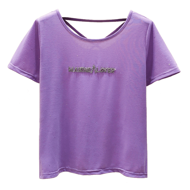 Sequins and Diamond Letters White T Shirt for Women - HomeWareBargains
