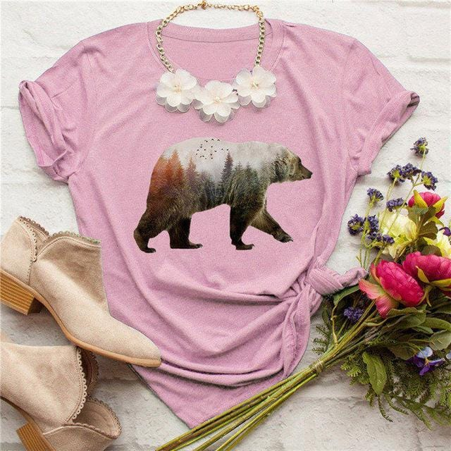 Women's Bear Print T Shirt - HomeWareBargains