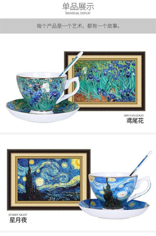 The New Van Gogh Art Painting Coffee Mugs The Starry Night Sunflowers The Sower Irises Saint-Remy Coffee Tea Cups - HomeWareBargains