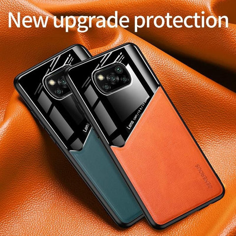 Premium Phone Case for Xiaomi Poco X3 NFC Case PC Leather TPU Frame Built-in Iron Cover for Xiaomi Poco X3 Pocophone F2 Pro X2