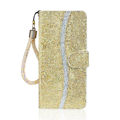 Gold Glitter Bling Flip Phone Case For Samsung S20 S10 S9 S8 S7 Plus A01 A11 A21 A41 A51 A71 A10 A20 S A40 A50 A70 A20E Cover Capa