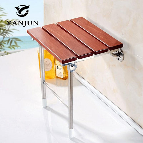 Wood Folding Bath Shower Seat - Wall Mounted Relaxation Shower Chair Solid Seat