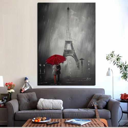 Red Umbrella in Paris Print on Canvas