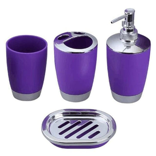 4 Pcs/Set Bathroom Set Plastic - Variety of Colors - HomeWareBargains