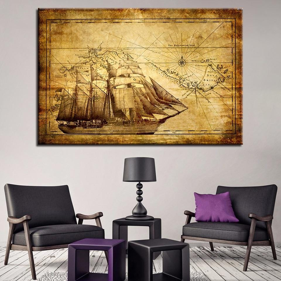Classic Print on Canvas of an olden days boat. Framed or Unframed. - HomeWareBargains