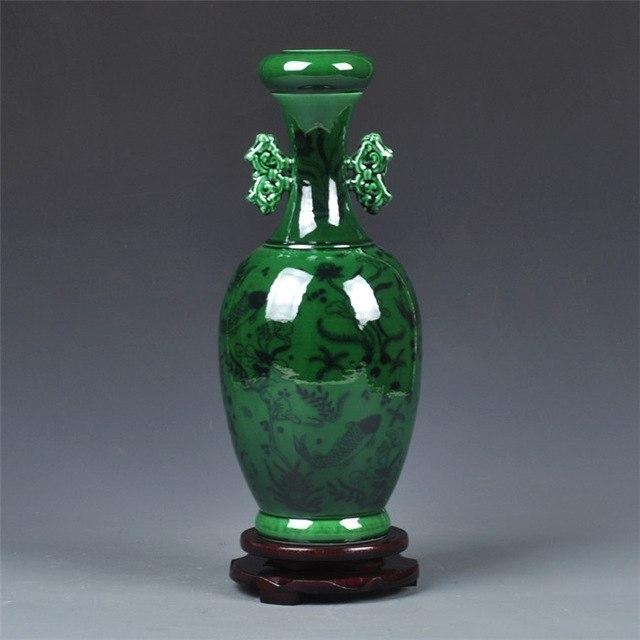 Antique Peacock Green Glaze Jingdezhen Ceramic Vase Flower Vase